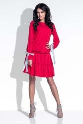 Czerwona sukienka z falbanką i kokardkami