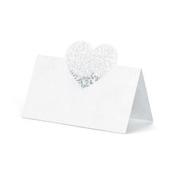 Wizytówki na stół z ozdobnym sercem 10 szt.