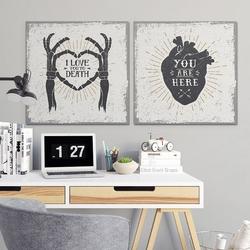 Love design - komplet dwóch obrazów na płótnie , wymiary - 30cm x 30cm 2 sztuki