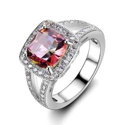 Srebrny pierścionek z różowym tęczowm kamieniem