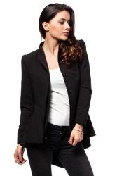 Czarny elegancki żakiet z asymetrycznym wydłużonym tyłem