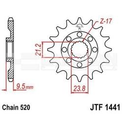 Zębatka przednia jt f1441-15, 15z, rozmiar 520 2200180 suzuki rm-x 450