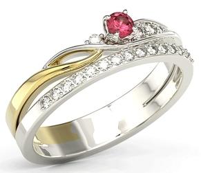 Pierścionek z białego i żółtego złota z rubinem i brylantami bp-77bz - białe i żółte  rubin