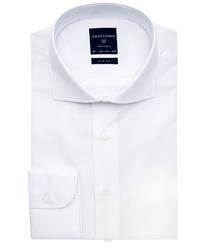Elegancka biała koszula męska taliowana, slim fit o splocie typu panama 45