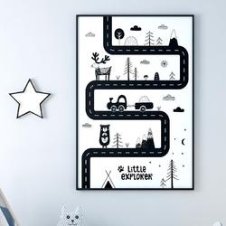 Scandi road - plakat dla dzieci , wymiary - 60cm x 90cm, kolor ramki - biały