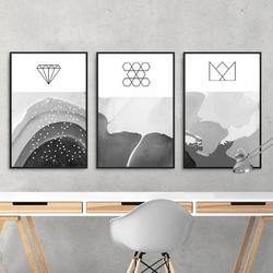 Zestaw trzech plakatów - oceanic geometry , wymiary - 40cm x 50cm 3 sztuki, kolor ramki - czarny