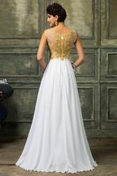 Suknia ślubna  wieczorowa ze złotymi haftami i koralikami