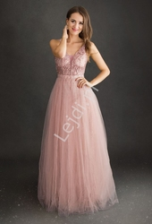Jasnoróżowa sukienka wieczorowa tiulowa z górą zdobioną koronką i perełkami 2217