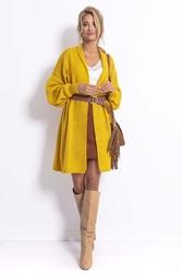 Długi niezapinany sweter damski - żółty