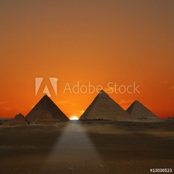 Tapeta ścienna wschód słońca piramid giza, egipt
