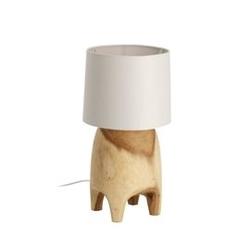 Drewniana lampa stołowa sinra biała