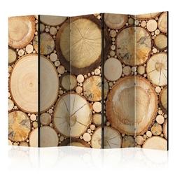 Parawan 5-częściowy - słoje drewna room dividers