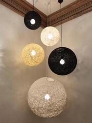 Lampa wisząca z okrągłym kloszem ze sznurków konopnych luna 110