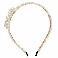 OPASKA DO WŁOSÓW biała PEREŁKI perły KOKARDA ślub