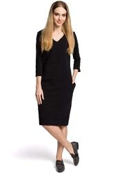 Sukienka codzienna dzianinowa z dekoltem w szpic - czarna