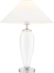 Lampa stojąca rea transparentna podstawa biały abażur