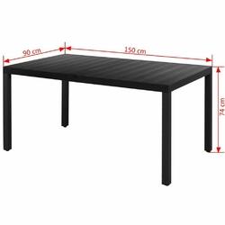 Stół ogrodowy gabriella 150 cm czarny aluminium