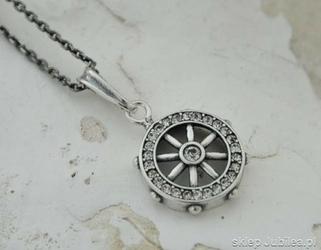 Sea koło sterowe - srebrny wisior z cyrkoniami