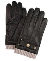 Eleganckie męskie skórzane brązowe rękawiczki Profuomo z dzianinowym mankietem  9,5