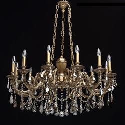 Duży, 12-ramienny żyrandol mosiężny z kryształami chiaro classic 491010712