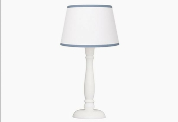 Lampka nocna roomee decor - biała z niebieską lamówką