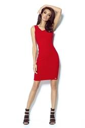 Czerwona sukienka ołówkowa z dekoltem na plecach