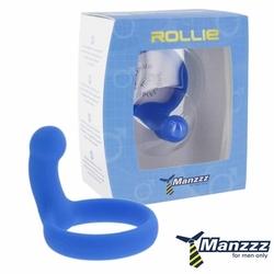 Sexshop - pierścień na penisa  z wypustką - manzzztoys rollie niebieski - online