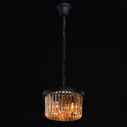 Mała lampa wisząca - kolumna bursztynowych kryształów mw-light loft 498015203