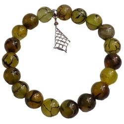 Oliv bransoletka na gumce oliwkowa zielona zawieszka srebrna