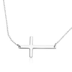 Staviori naszyjnik. krzyżyk. białe złoto 0,585. wymiary 20,7x12 mm. szerokość 0,6 mm.  długość regulowana 42cm lub 47cm.