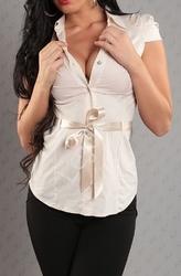 Koszula beżowa z paseczkiem satynowym i guziczkiem kryształkowym ch30