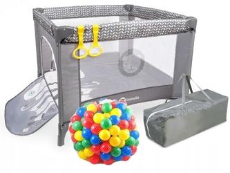 Lionelo stella  sofie grey scandi kojec dla dziecka + torba + materac + 62 piłeczki