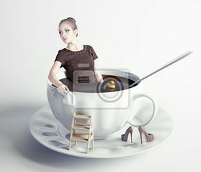 Fototapeta kobieta w filiżance kawy