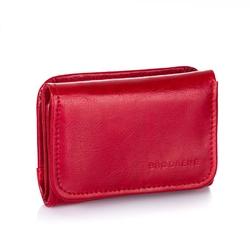 Skórzany portfel damski brodrene a-09 czerwony - czerwony