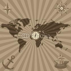 Plakat na papierze fotorealistycznym mapa świata z symbolami żeglarskimi