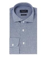 Elegancka jasnoniebieska koszula męska z dzianiny slim fit 37