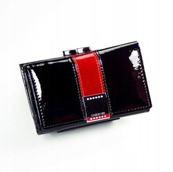 Skórzany portfel damski lakierowany z kryształkami czarny lorenti 15-09 - czarny || czarny z czerwonym