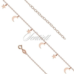 Srebrna bransoletka na nogę pr.925 z księżycami i gwiazdkami - różowe złoto