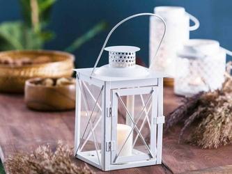 Latarenka  latarnia  lampion ozdobny wiszący metalowy altom design kwadratowa biała 20 cm