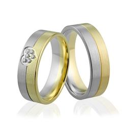 Obrączki ślubne dwukolorowe z serduszkiem i brylantami - au-919