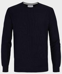 Granatowy sweter  pulower o-neck z bawełny  s