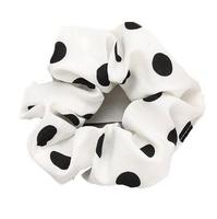 Gumka do włosów frotka scrunchie kropki biała - 36600