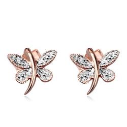 Staviori kolczyki motyle 2 diamenty, szlif achtkant, masa 0,006 ct., barwa h, czystość i1. białe, różowe złoto 0,585.