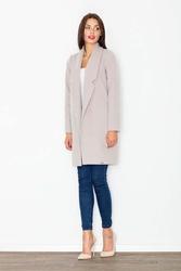 Beżowy krótki klasyczny płaszcz damski