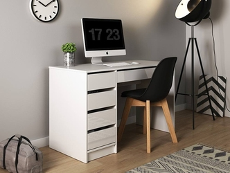 Nowoczesne białe biurko z szufladami margaret 120 cm