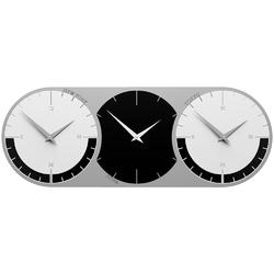 Zegar ścienny - 3 strefy czasowe world clock calleadesign czarny  biały 12-010-5