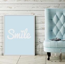 Smile - plakat designerski , wymiary - 50cm x 70cm, kolor ramki - biały