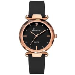 Zegarek damski geneva pasek nubuk czarny klasyczny