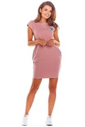 Dzianinowa różowa mini sukienka z kieszeniami