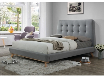 Łóżko tapicerowane małżeńskie tolla szare 160x200
